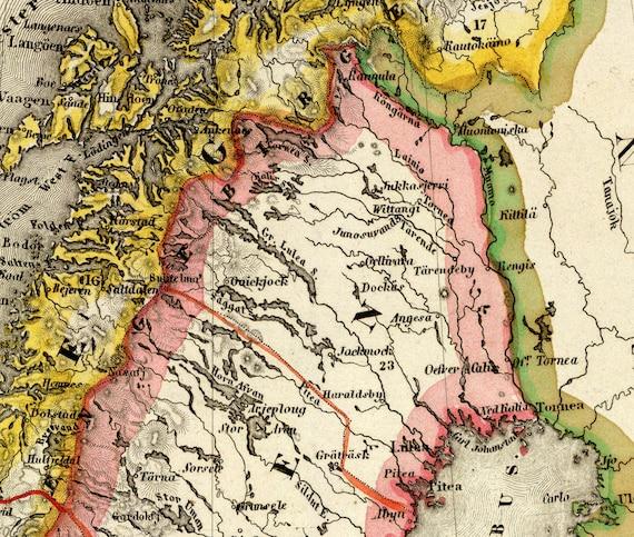 Karte Norwegen Schweden.Karte Von Schweden Norwegen Karte Antike Landkarte Von Schweden Und Norwegen Wunderbare Landkarte Feinen Druck Auf Papier Oder Leinwand