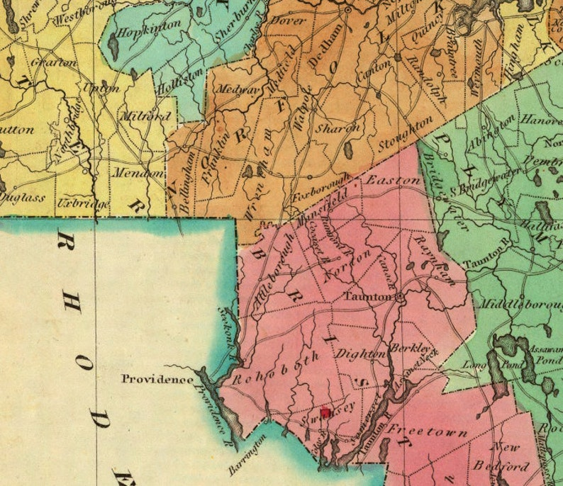 picture relating to Printable Map of Massachusetts identify Machusetts map - Wonderful print - Map of Machusetts archival duplicate upon canvas or paper