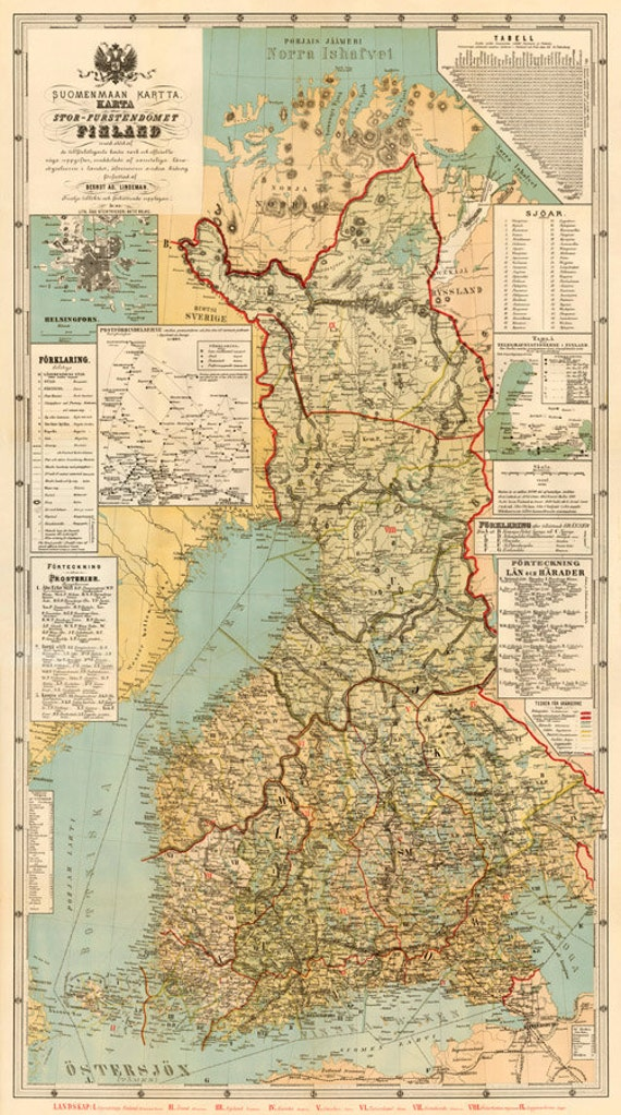 Finland Map Large Map Of Finland Old Map Fine Reproduction Etsy