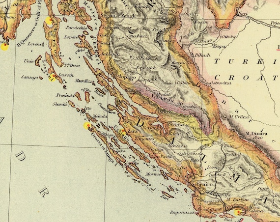 Sri Lanka Karte Zum Drucken.Kroatien Landkarte Alte Karte Von Kroatien Karte Drucken Vintage Karten Restauriert Feine Printon Papier Oder Leinwand