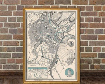 Luxembourg map - Old map of Luxembourg fine print