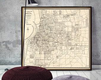 Map of Memphis - Vintage map of Memphis - fine reproduction