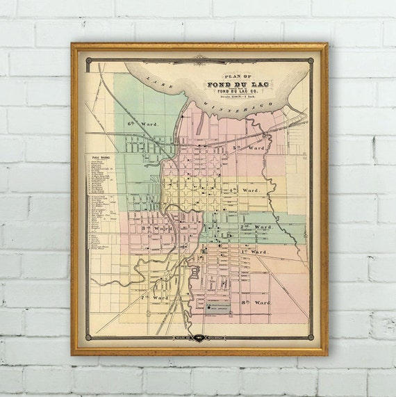 Fond Du Lac Zip Code Map.Fond Du Lac Wis Map Old Map Restored Archival Etsy