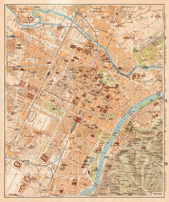 Torino Map Old City Plan Of Torino Italy Fine Giclee Wall Etsy