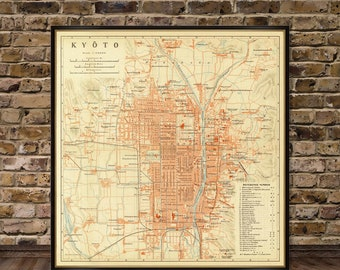 Kyoto map - Old map reproduction - Vintage map of Kyoto archival print