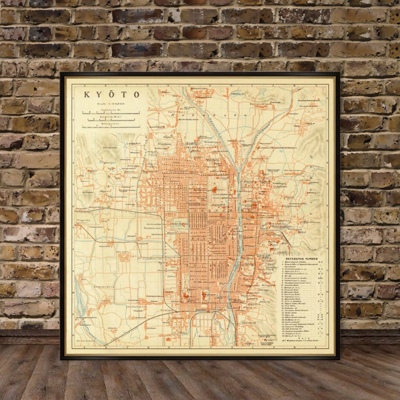 Kyoto map  Old map reproduction  Vintage map of Kyoto image 0