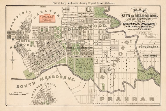 Old Plan Of Early Melbourne Map Of The City Of Melbourne Etsy