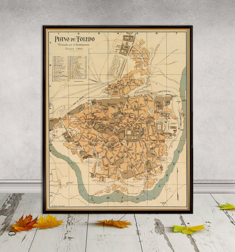 Map Of Spain Old.Map Of Toledo Spain Old Map Reproduction Historic Maps Restored Plano De Toledo Print On Paper Or Canvas