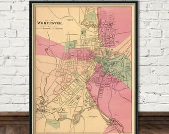 Worcester map - City  map print -   Old map fine print
