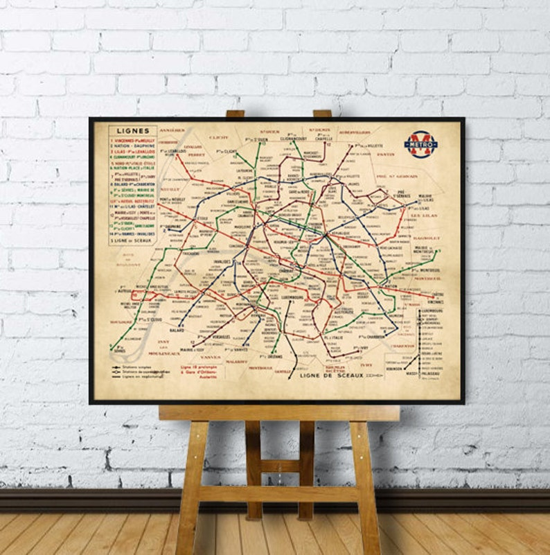 Paris Metro Subway Map.Paris Metro Map Paris Subway Map Paris Metro Plan Officiel Du Reseau Fine Print On Paper Or Canvas