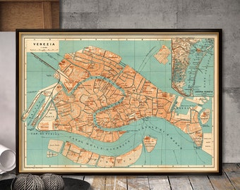 Vintage map of Venice  - Archival reproduction - Old city map - Venice map print on matte canvas or coated paper