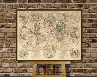 Map of the world - Antique world map  restored - Fine reproduction - Historic map of the world