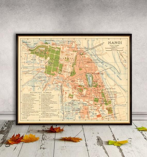 Map of Hanoi Vintage map of Hanoi reproduction   Etsy