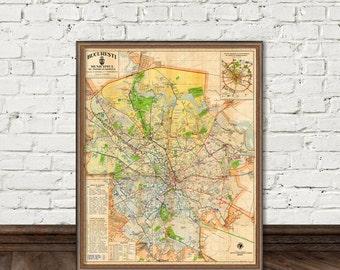 Bucharest map - archival fine print - Harta orasului Bucuresti