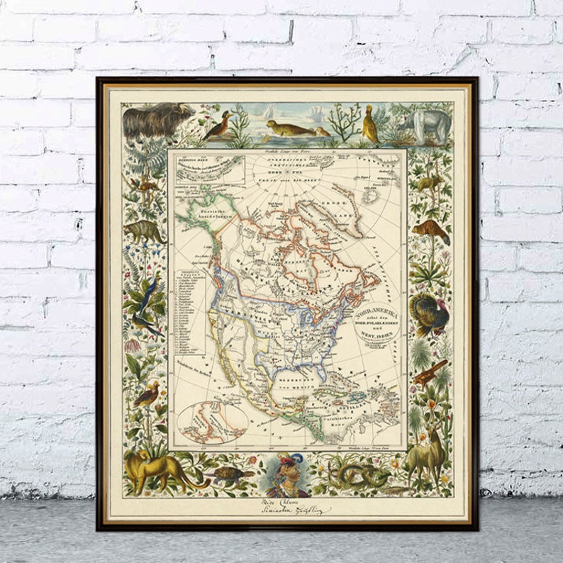 North America Map Old Map Restored America Reproduction Etsy