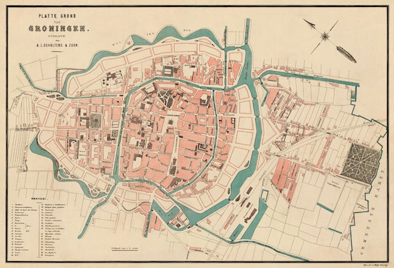 Groningen map - Old map fine print on paper or canvas