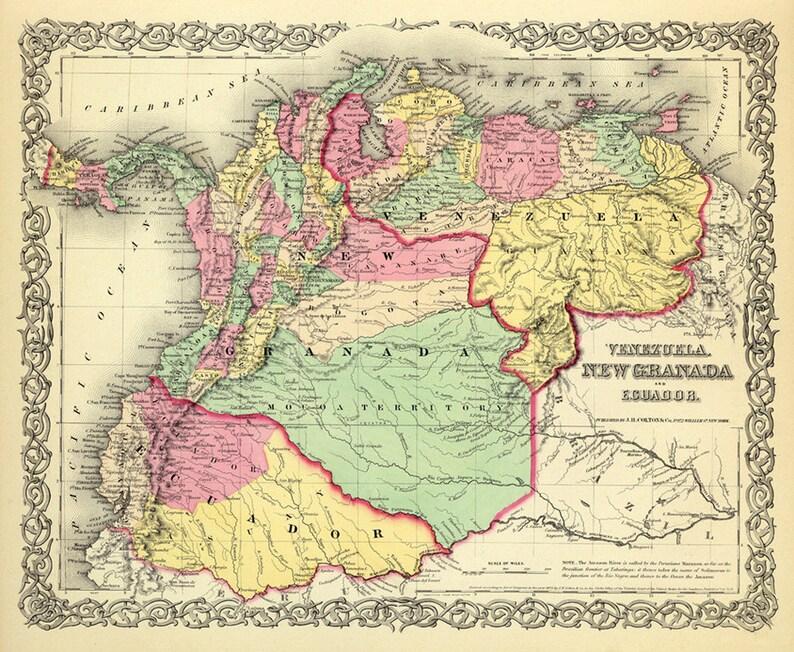 Granada Karte.Venezuela Granada Karte Ecuador Karte Alte Karten Feine Reproduktion Auf Papier Oder Leinwand