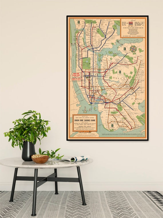 Nyc Subway Map Paper.New York City Subway System Map Nyc Subway Map Vintage Map Restored Fine Print On Paper Or Canvas
