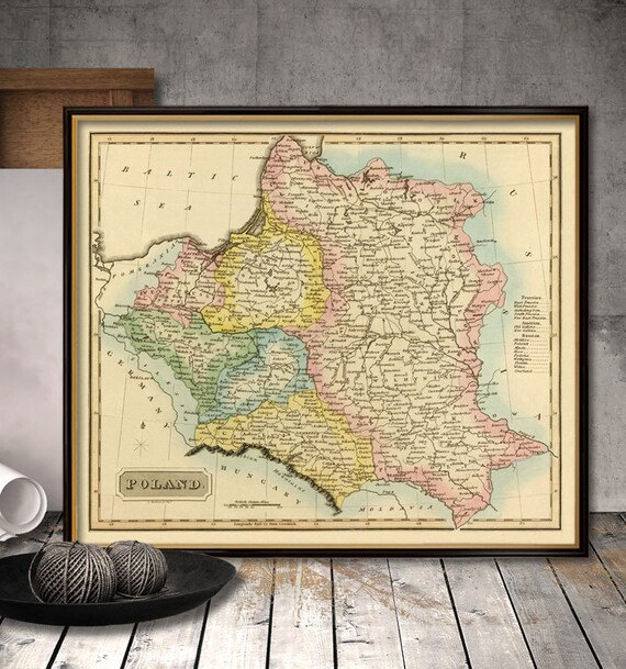 Poland map - Old map of Poland reproduction - Vintage map of Poland on
