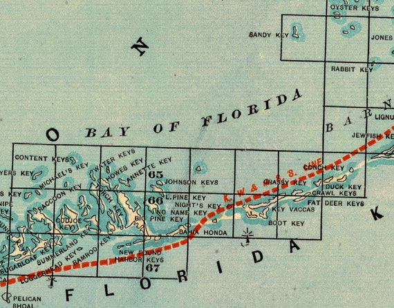 Old map of Florida - Archival map print - Florida East Coast Railway - A  wonderful vintage map reproduction on paper or canvas