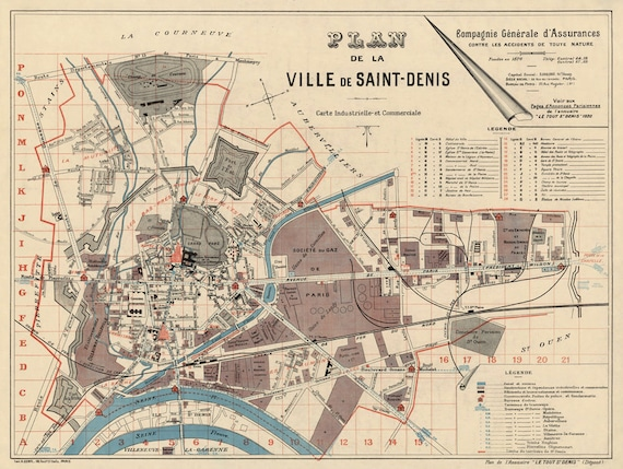 Saint Denis France Map.Saint Denis Map France Vintage Map Of Saint Denis Plan De La Ville De Saint Denis Fine Print