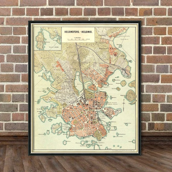 Map Of Helsinki Helsingfors Map Old City Map Print Etsy