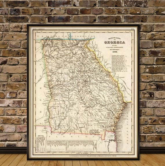 Map Of Old Georgia.Georgia Map Print Old Map Of Georgia Historic Maps Reproduction On Paper Or Canvas