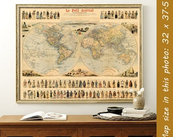 Antique map - Historic world map - Vintage map of the world - Antique illustrated  world map print