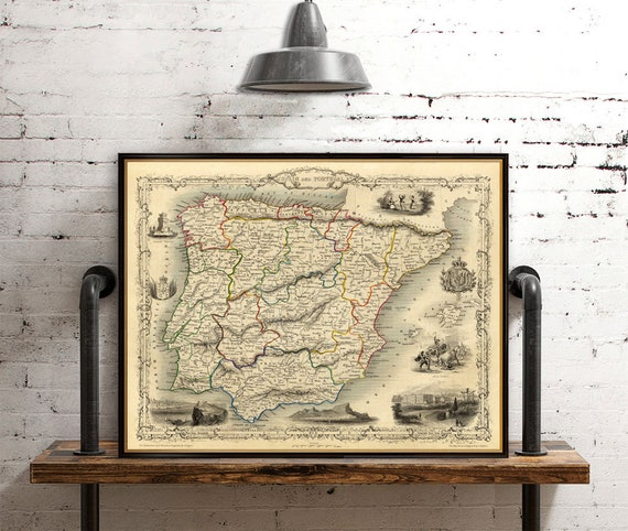 Map Of Spain Old.Old Map Of Spain Old Map Of Portugal Vintage Map Archival Reproduction On Paper Or Canvas
