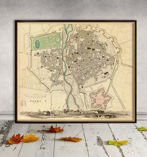 Stampa Cartina Sicilia.Parma Mappa Vintage Stampa Mappa Della Citta Antica Di Parma Etsy