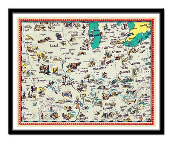 Vintage Iowa Indiana Illinois Kentucky Missouri And Etsy