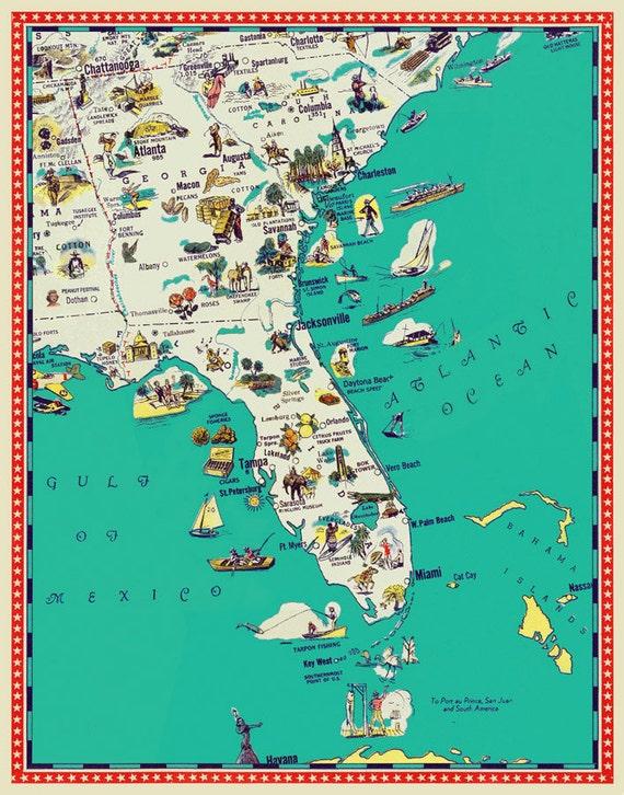 Map Of Georgia Florida And South Carolina.Florida Map Georgia Map South Carolina Map Illustrated Map Poster A Retro And Funny Map 11x14