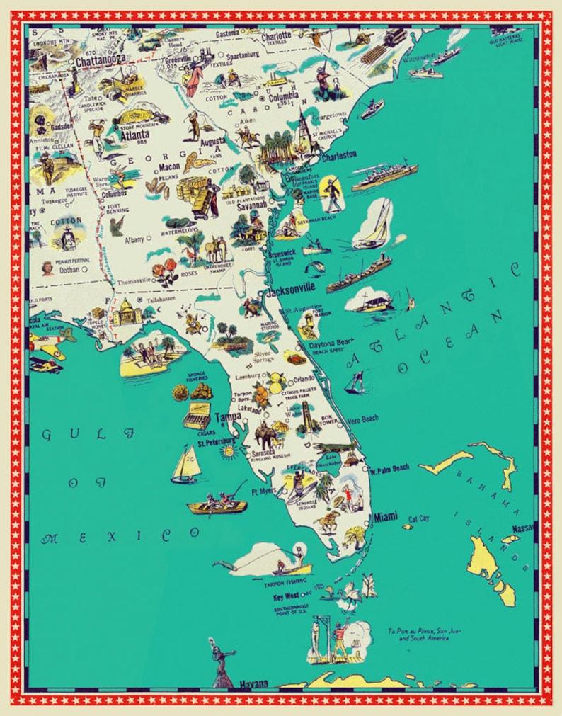 Map Of Georgia And South Carolina.Florida Map Georgia Map South Carolina Map Illustrated Etsy