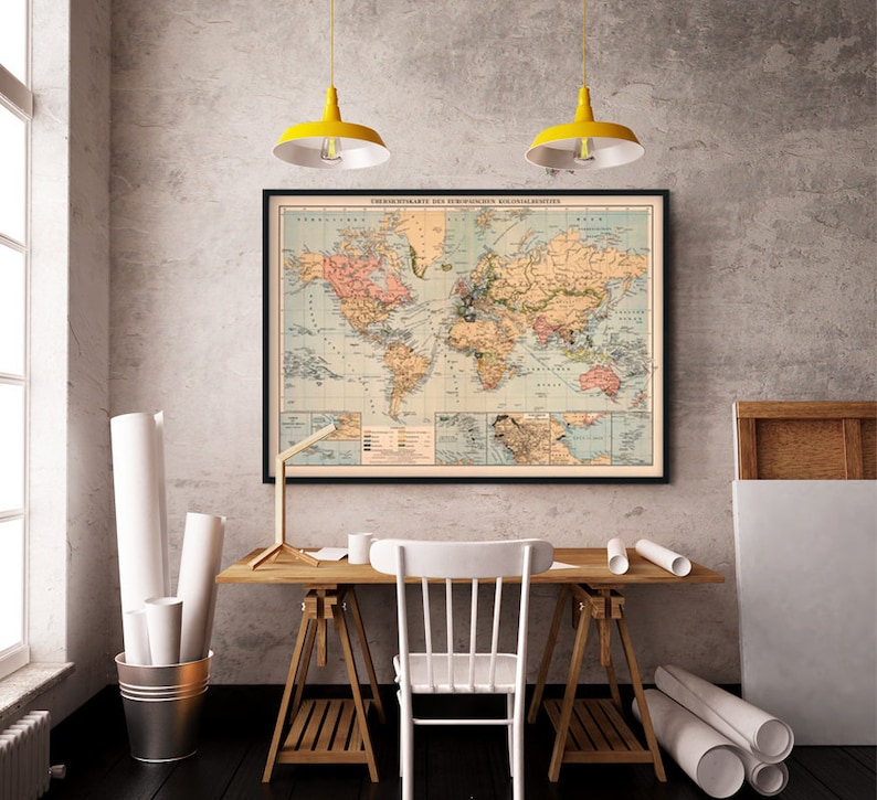 World map Decorative map Old wall map Fine print on   Etsy on