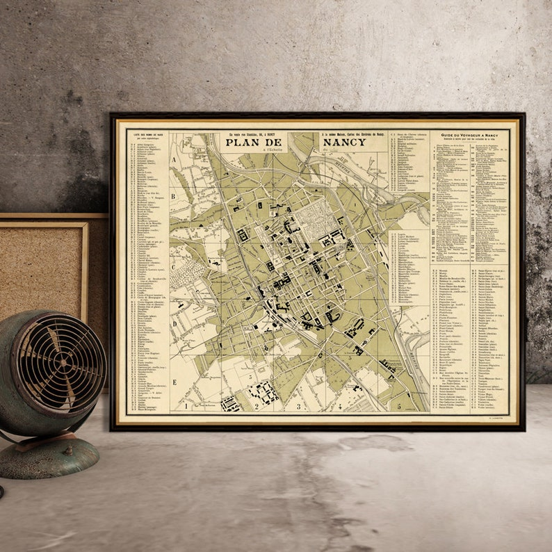 Nancy map - Old map of Nancy print - Fine reproduction on paper or canvas