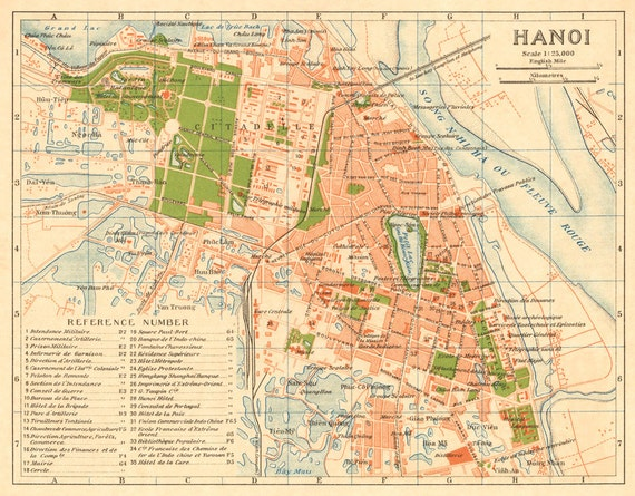Map Ha Noi.Map Of Hanoi Vintage Map Of Hanoi Reproduction On Paper Or Canvas