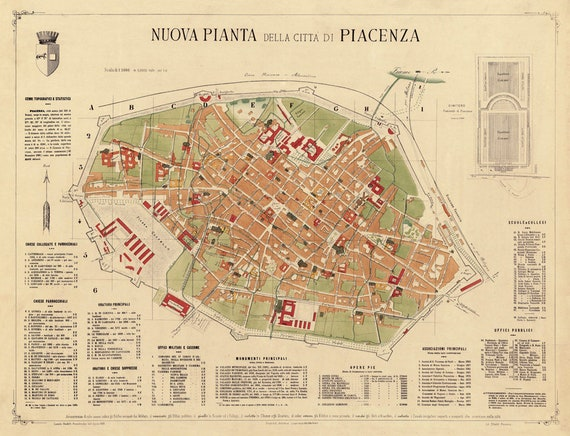 Piacenza Map Old Map Of Piacenza Italy Print Vecchia Etsy