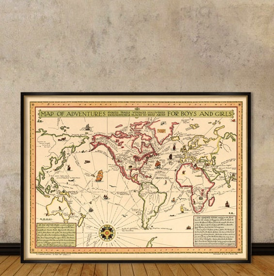 Map of adventures - Adventures map for kids - Illustrated maps