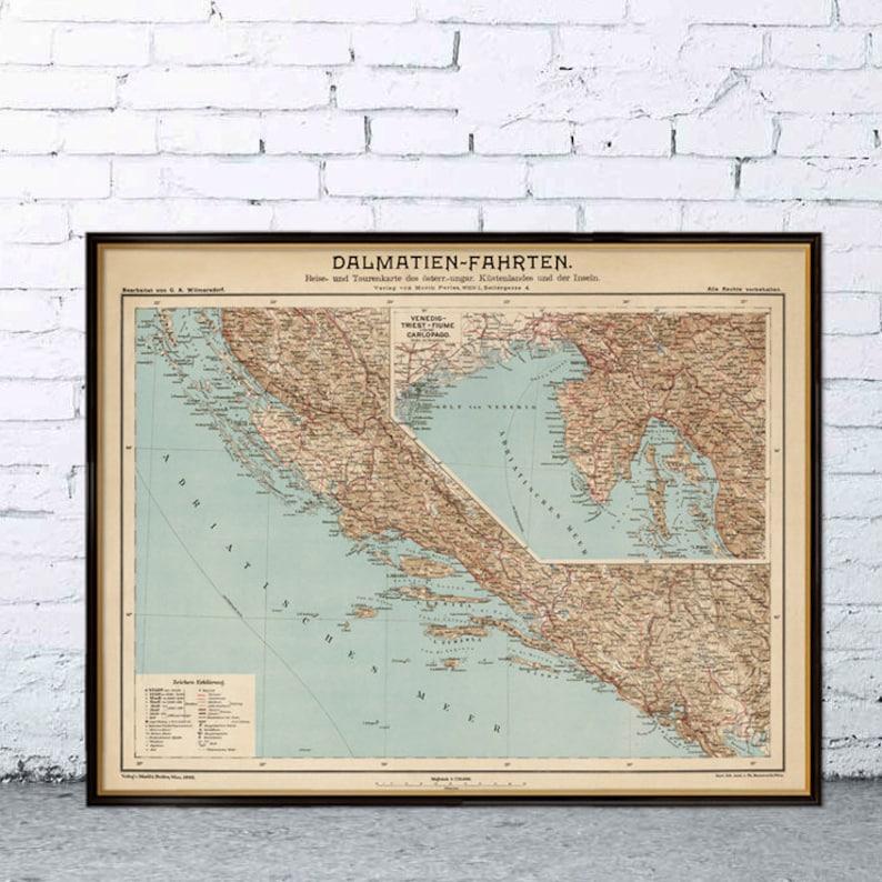 Carte Ancienne Croatie.Ancienne Carte De La Dalmatie Croatie Carte Murale De La Dalmatie Fine Impression Sur Papier Ou Toile