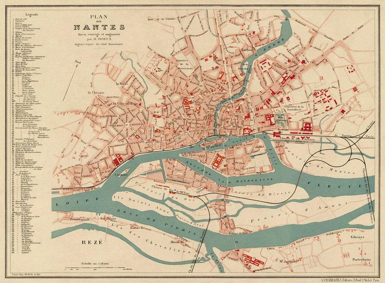 Nantes Karte.Karte Von Nantes Frankreich Vintage Karte Von Nantes Restauriert Alte Karte Von Nantes Druck Auf Papier Oder Leinwand