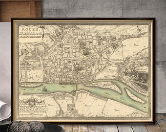 Map of Rouen - Plan de la ville de Rouen - Rouen map archival reproduction