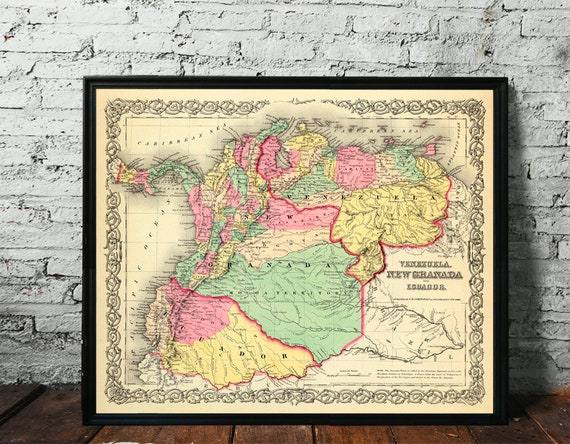 VINTAGE VENEZUELA MAP Vintage Map Reproduc Vintage Map of Venezuela Wall Art