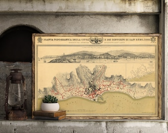 Old map of San Remo - Vintage map giclee reproduction