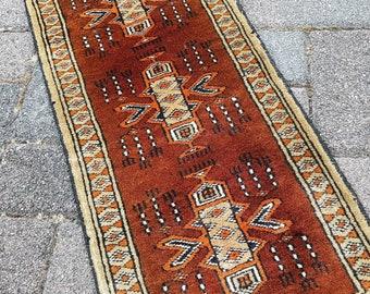 Abraham   Vintage Oriental Läufer, Handgeknüpfte Teppich, Teppichläufer,  Kleiner Teppich, Tischläufer, Türkische Teppich 1274