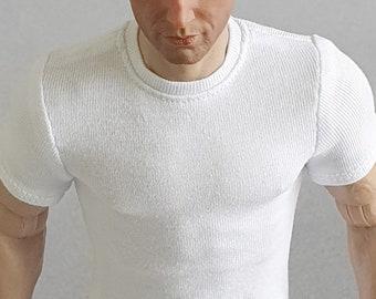 1/ 6th scale white T-shirt fits ~ 12 inch collectible poseable action figure bodies e.g. Hot Toys TTM 19 Phicen TBLeague M31 M32 M33