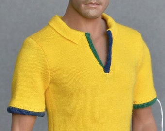 48e704904c8 1 6 scale yellow polo shirt for ~ 12 inch collectible poseable figures and  dolls e.g. Hot Toys TTM 19 Phicen TBLeague M31 M32 M33