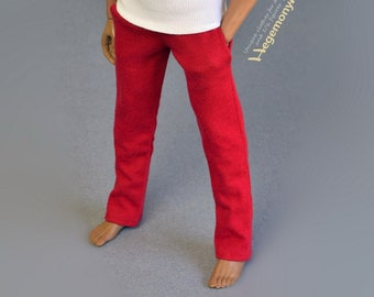 1/ 6th scale red sweatpants for ~ 12 inch collectible poseable figures e.g. Hot Toys TTM 19 Phicen TBLeague M31 M32 M33
