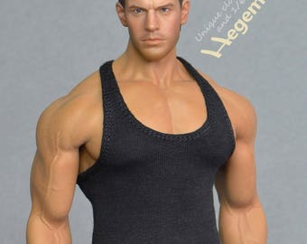 1/ 6th scale black XXL tank top vest for Phicen / TBLeague M34 M35 and Hot Toys TTM 20 size bigger action figures and male fashion dolls