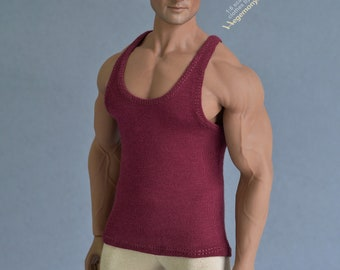 Longer 16th scale XXL burgundy tank top vest singlet for TBLeague M36A M36B and other basketball player size collectible poseable figures