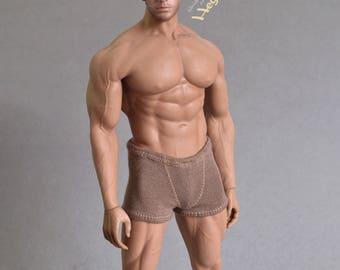 1/ 6th scale XXL brown trunks men's underwear fits Phicen TBLeague M34 M35 M36, Hot Toys TTM 20 size larger figures, male dolls
